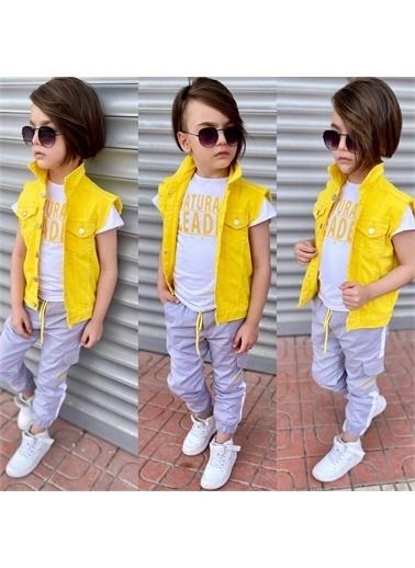 Quzucuk Kids Erkek Çocuk Denim Yelekli Sarı Takım Sarı